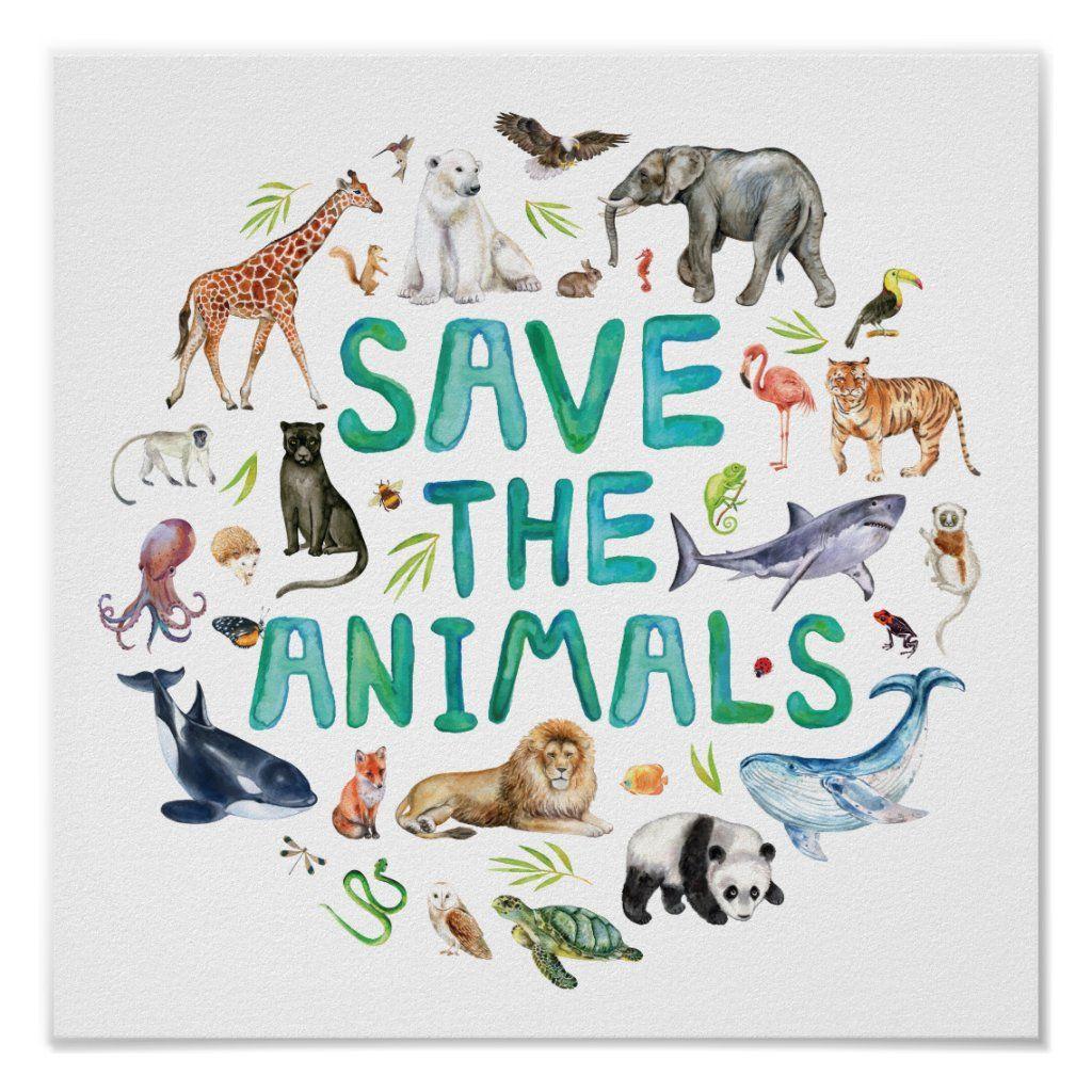 Watercolor Save the Animals Poster | Zazzle.com in 2021 | Save animals  poster, Animal posters, Poster on save wildlife