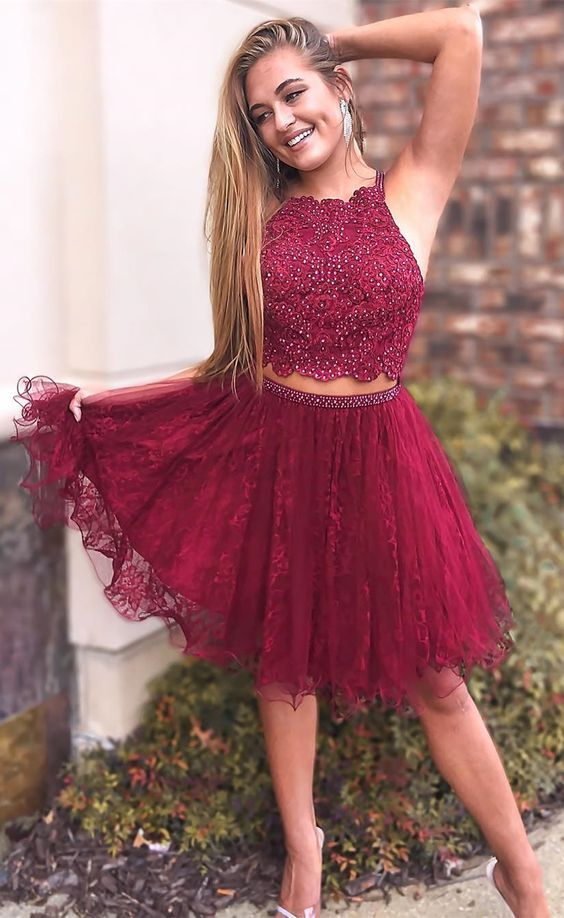 09c9bf48966 Cute A Line Two Piece Round Neck Burgundy Lace Short Homecoming Dresses  with Beading