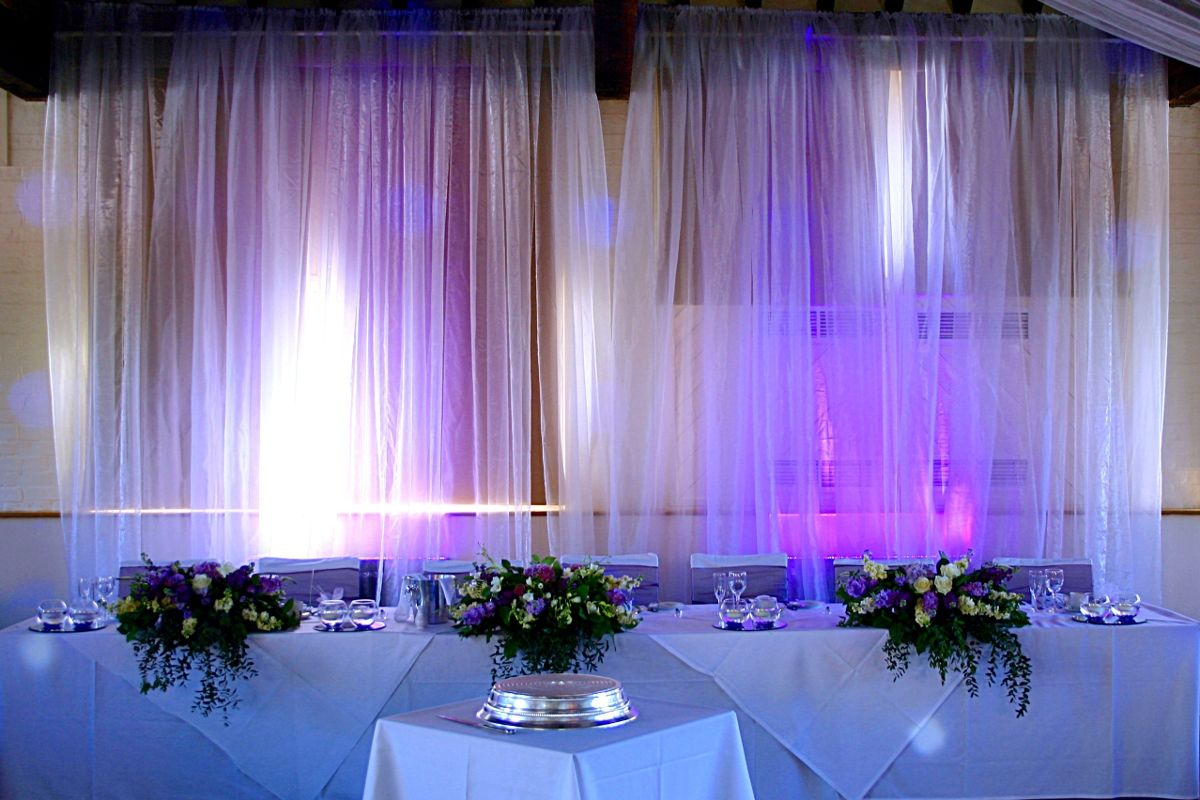 Lighting The Top Table Backdrop For Hertfordshire Wedding In Ridings Barn Theobalds Park