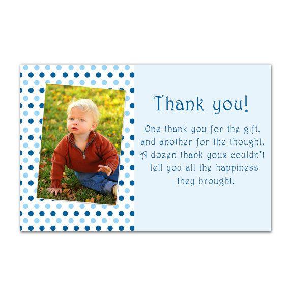 Boy Birthday Thank You Card With Photo Blue Thank You Card Etsy Printable Thank You Cards Birthday Thank You Cards Birthday Thank You