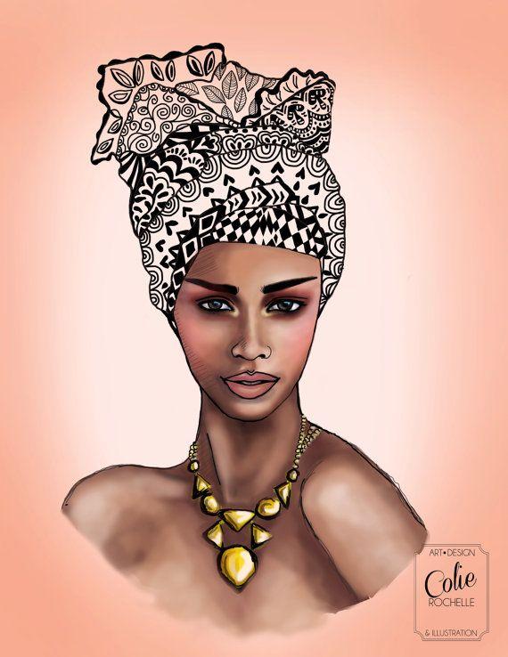 African Queen Woman Illustration Colorful Geometric Head Wrap Crown Mod Retro Vintage Black Girl Fashion Wall Art Print