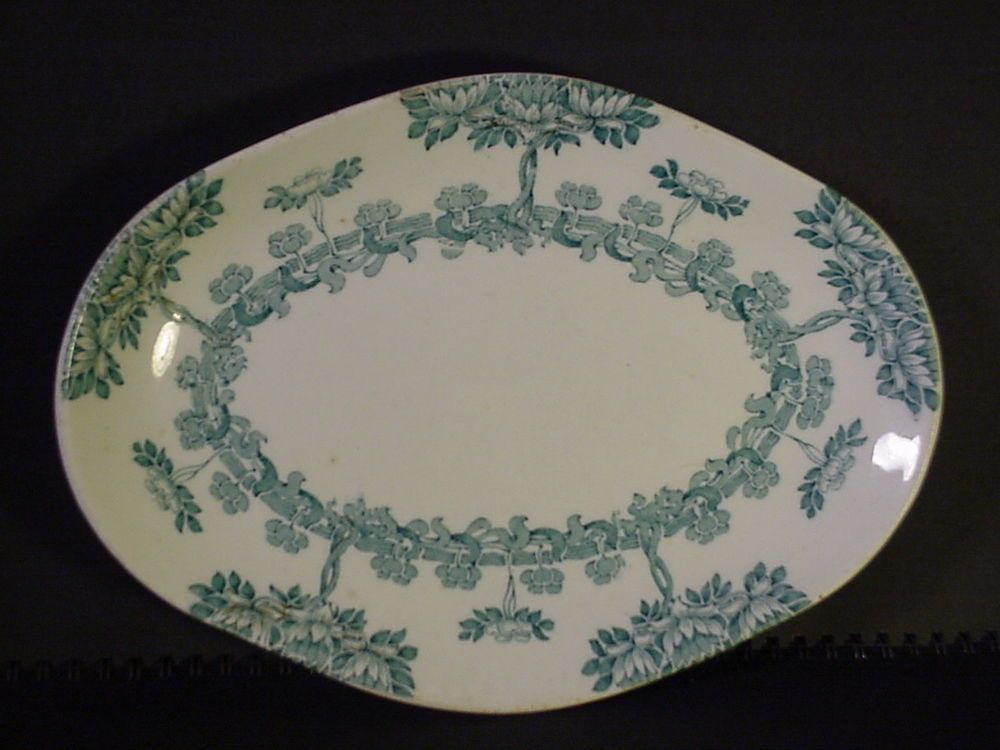 "Antique New Wharf Pottery Platter England ""Harvard"" Pattern Semi-porcelain  #NWP"