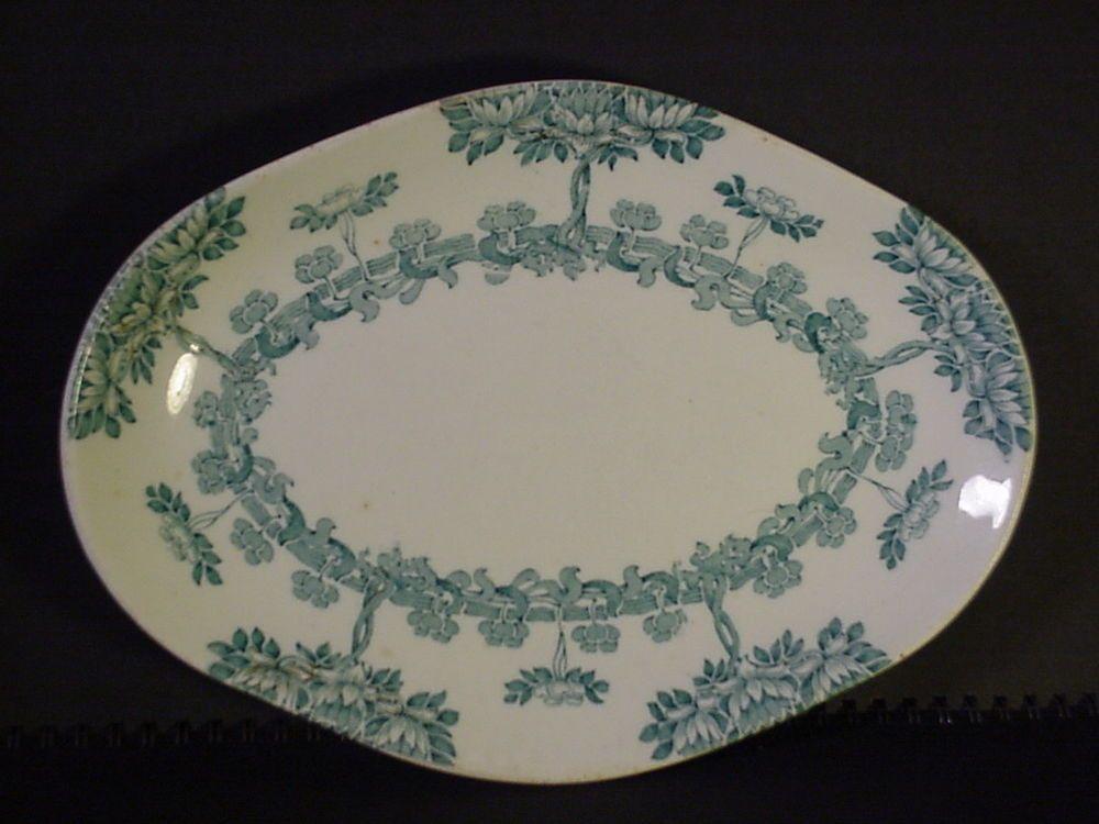 "Antique New Wharf Pottery Platter England ""Harvard"" Pattern Semi-porcelain  #NWP"