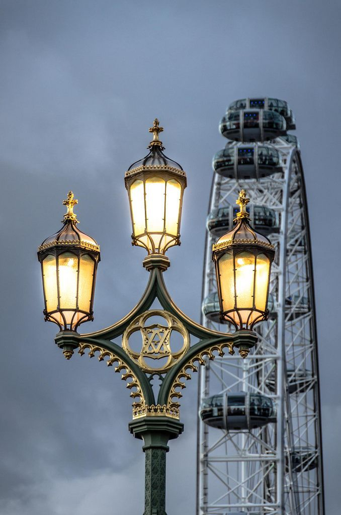 Victorian street lamps on Westminster Bridge, London.