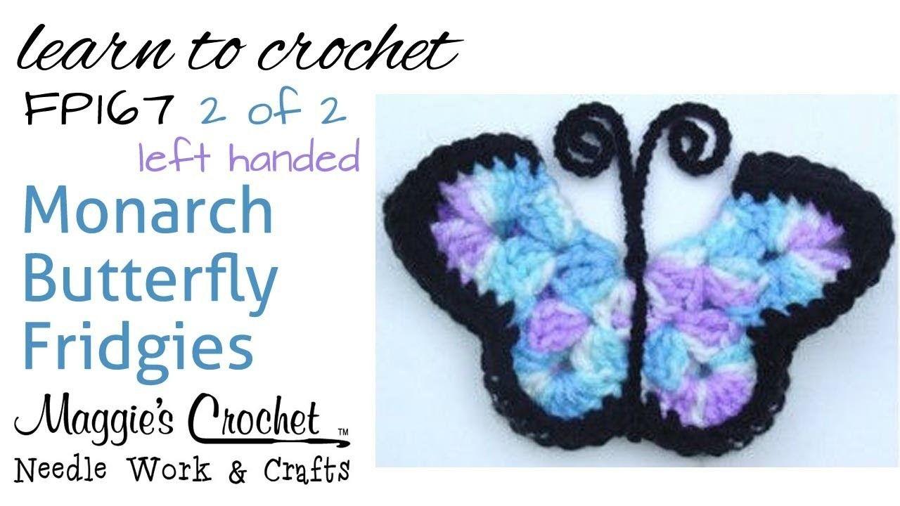 Free Crochet Pattern FP167 Monarch Butterfly Fridgies - Left handed (Part 2 of 2)