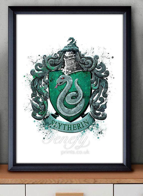 Les Enfants De Harry Potter Serpentard Crest Aquarelle Art Poster