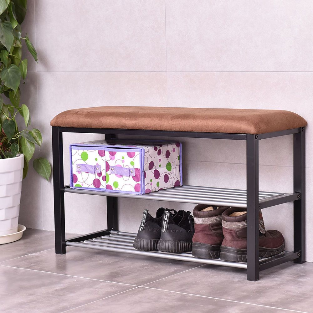 shoe storage organizer rack foyer hallway boots bench seat steel shelves