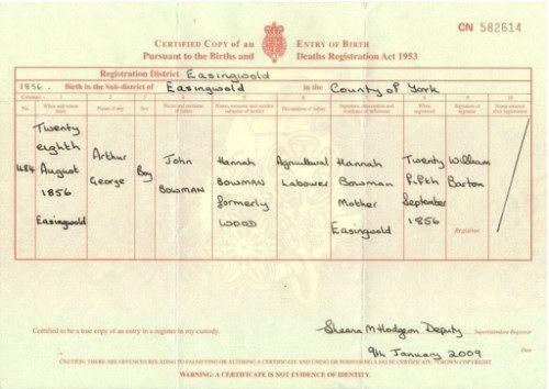Arthur George birth 1856