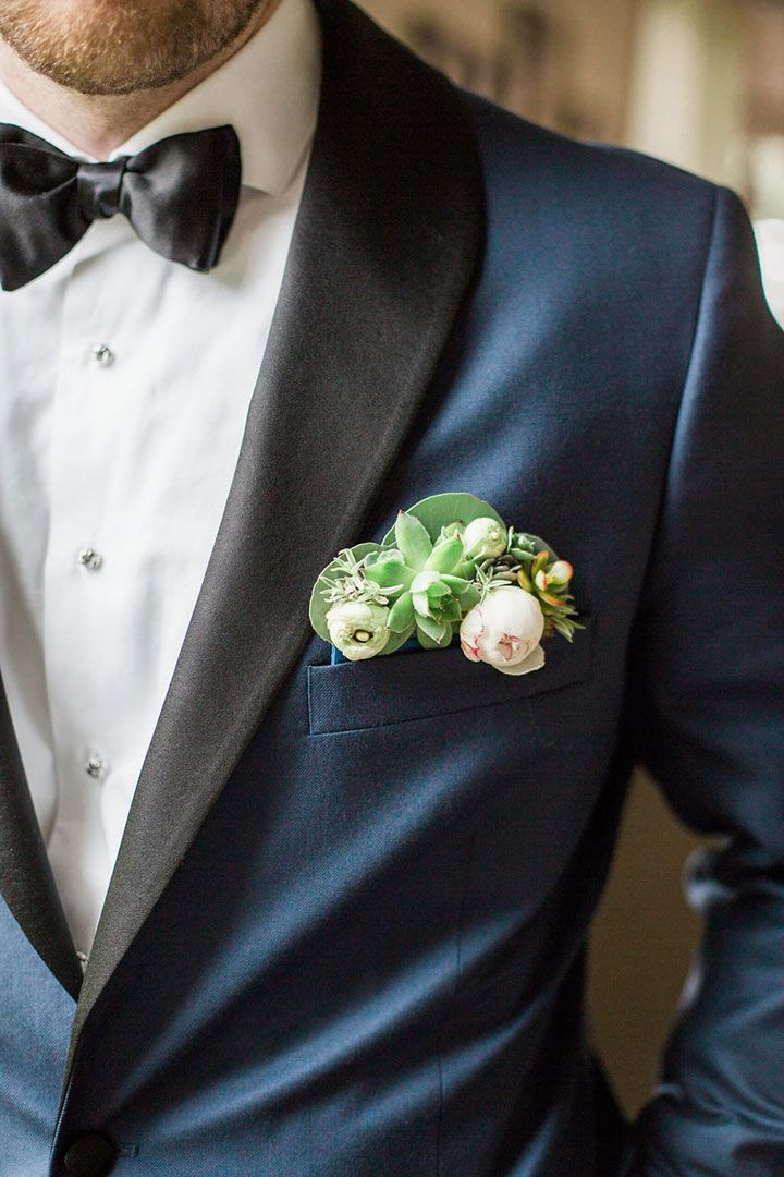 fdc541e3e9c8c Floral Pocket Squares for the Groom ~ A Garden Party's peony and succulent pocket  square