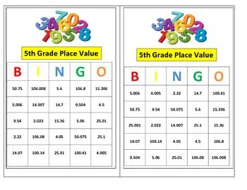 5th grade decimal place value bingo game for common core decimal places bingo games and. Black Bedroom Furniture Sets. Home Design Ideas