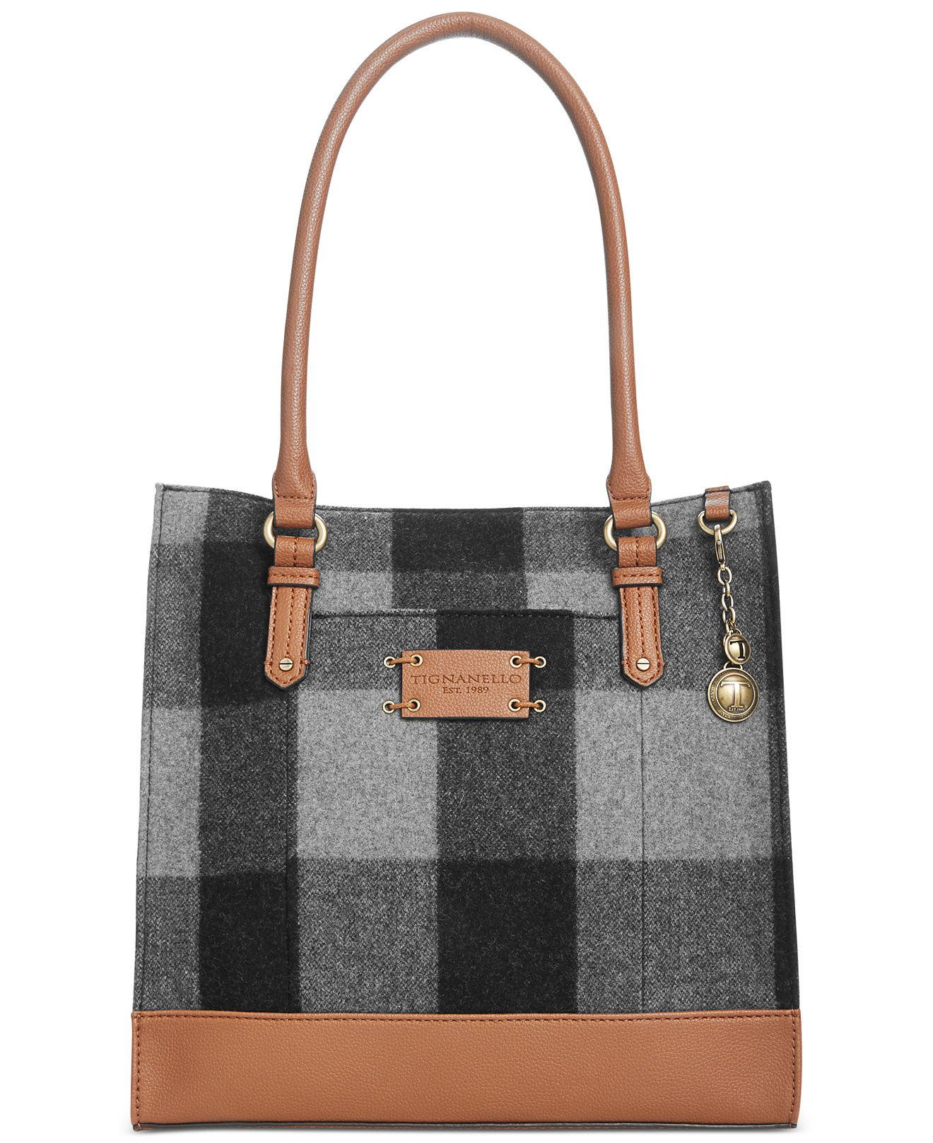 Tignanello Lexington Wool Check Tote Clearance Handbags Accessories Macy S