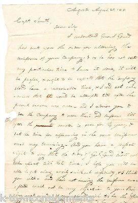 GEORGIA STATE MILITIA 1818 UNIFORM ALTERATIONS SIGNED MILITARY COMMUNICATION