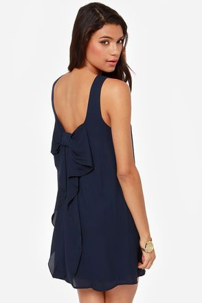 Under the Bow-dwalk Navy Blue Shift Dress | Cute dresses, Navy ...