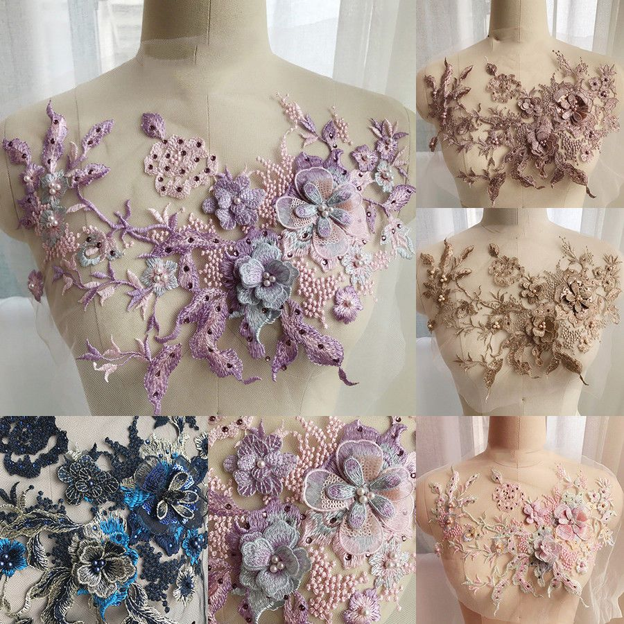 3D Flower Lace Embroidery DIY Beaded Pearl Wedding Dress Tulle Bridal Applique
