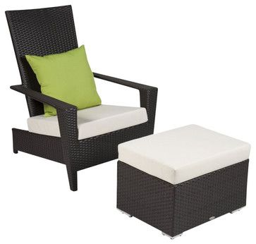 Martano Stackable Chair With Ottoman Contemporary Outdoor Lounge