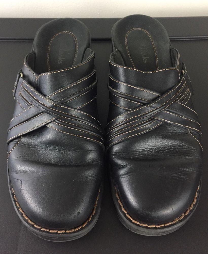 047ea7ee1f579 Clarks Loafer Shoes Leather Size 8M Black Straps Clogs Sz Women s  Clarks   Clogs