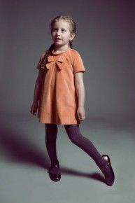 Babycord Bow Dress by Hucklebones