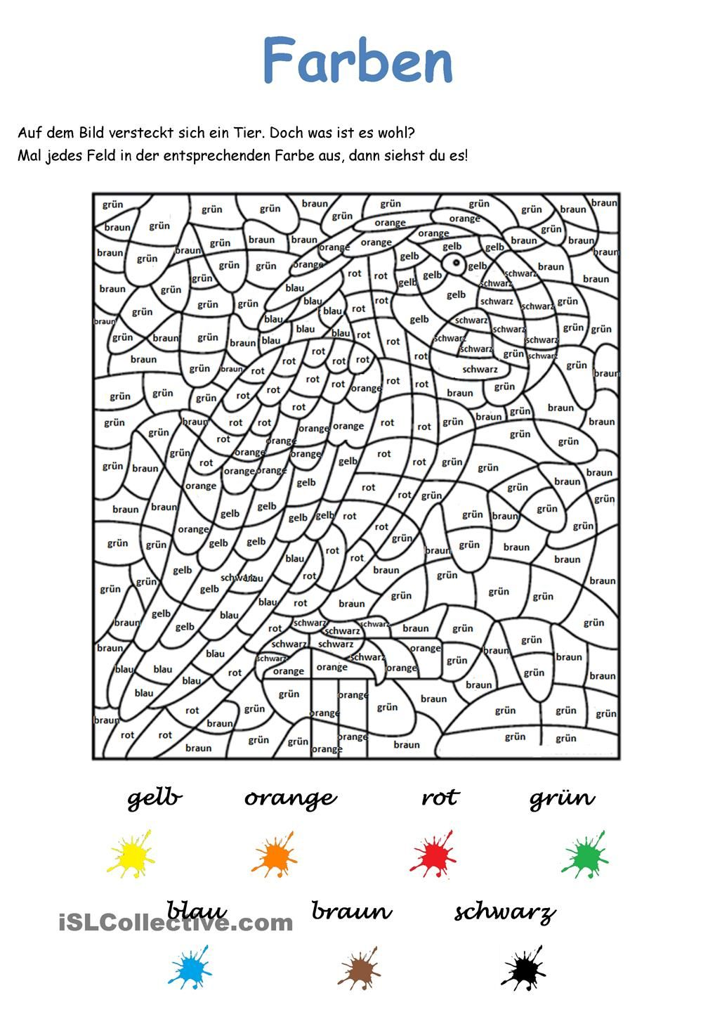 Farben - Bilderrätsel | tysk | Pinterest | Learn german, Worksheets ...