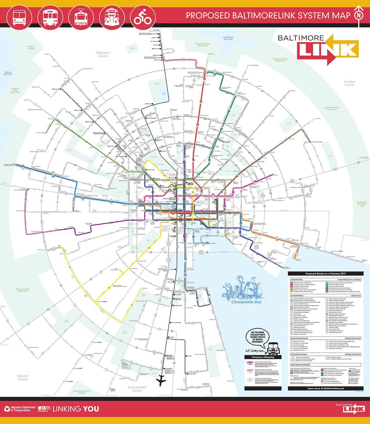 Proposed BaltimoreLink System Map 2017 Interesting hybrid grid