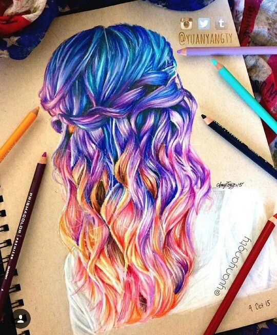 Disegno Capelli Arcobaleno Drawings In 2019 How To Draw Hair