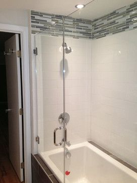 tile around fiberglass shower stall
