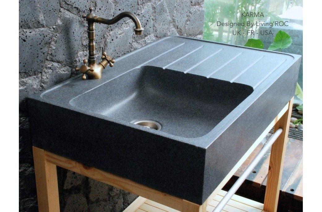 900mm Genuine Grey Granite Stone Kitchen Sink Norway Stone