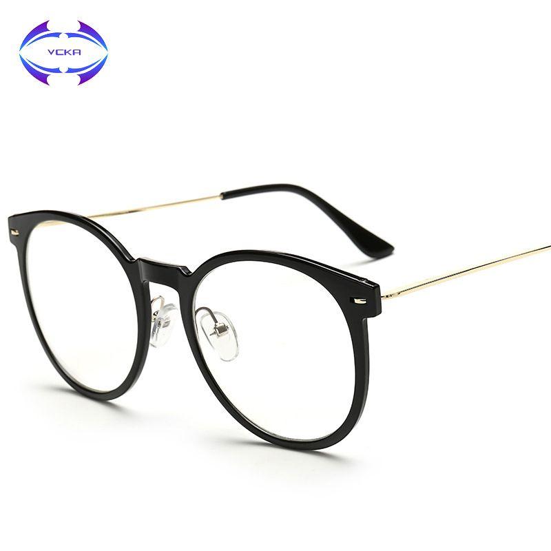 01076935ece VCKA Retro Cat Eye Glasses Frame Brand Designer Fashion Women Half Frame  Eyeglasses Vintage Men Optical