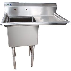 Right Drainboard 16 Gauge Regency One Compartment Stainless Steel Commercial Sink With 1 Drainboard 38 1 2 Inch Long 18 Inc With Images Commercial Sink Sink Compartment