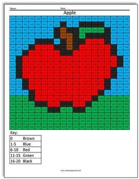 Apple Addition Coloring Squared Math TpT FREE LESSONS