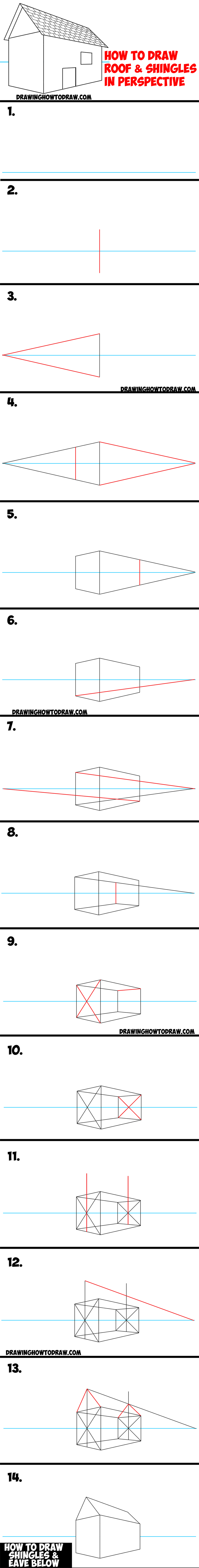 how to draw a roof and shingles with two point perspective easy