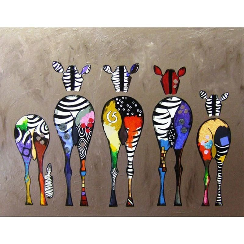 Backs Of Zebras Paint By Numbers Coloring Kits In 2020 Zebra Painting Zebra Canvas Oil Painting Abstract