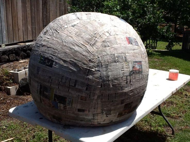 use a beach ball paper mache 39 to make giant orbs hollow