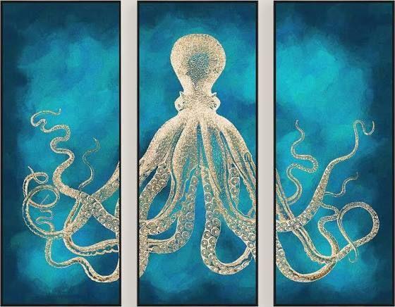 Art Octopus Sea Life Wall Art Octopus Wall Art Triptych Wall Art
