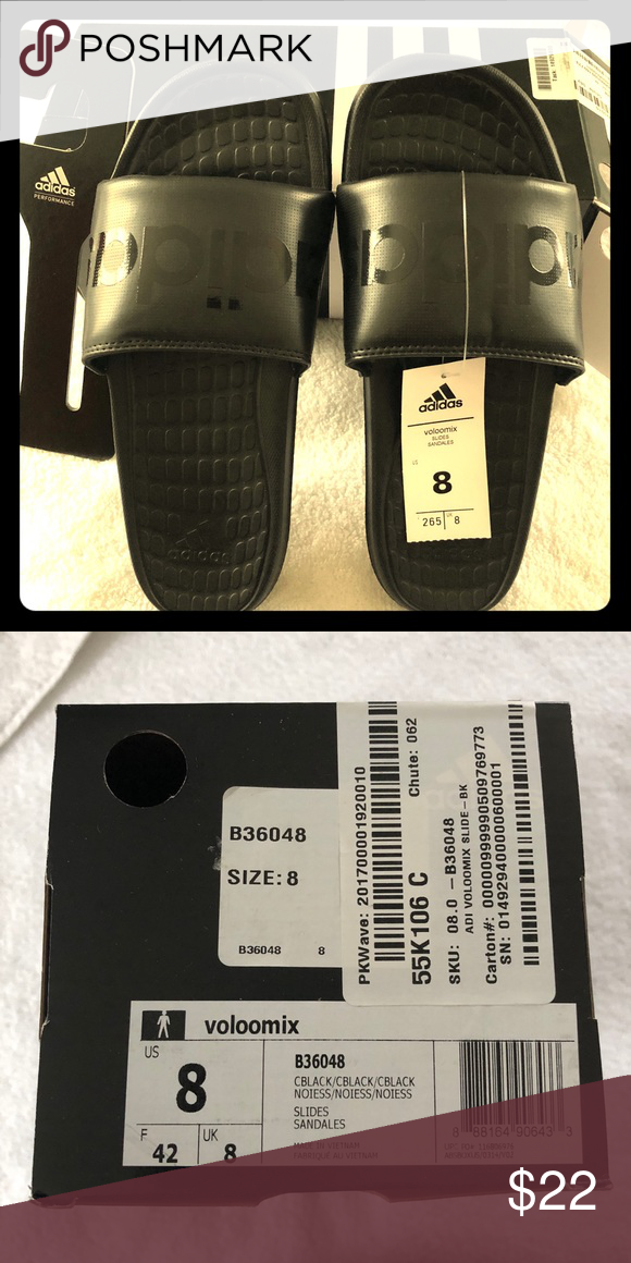 new product f4f0a 64587 New Adidas Voloomix Slide Sandal -Men s size 8 Black on black very sharp,  brand