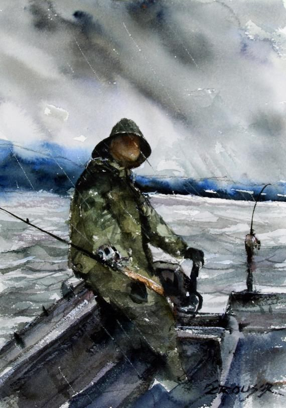 Rainy Day Fishing Fisherman Painting Watercolor Print By Dean