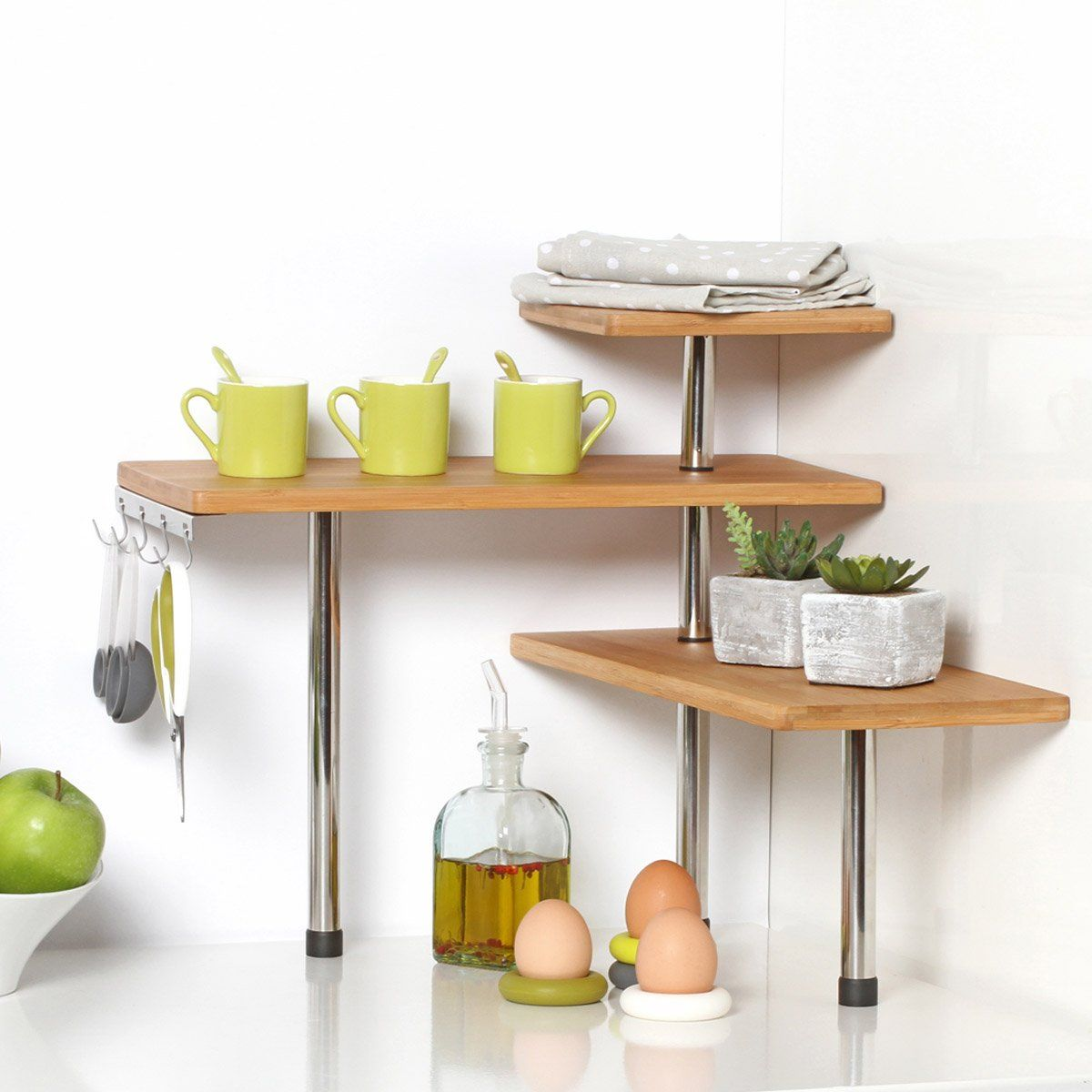 Bamboo and Stainless Steel Corner Shelf Unit - Kitchen - Bathroom ...