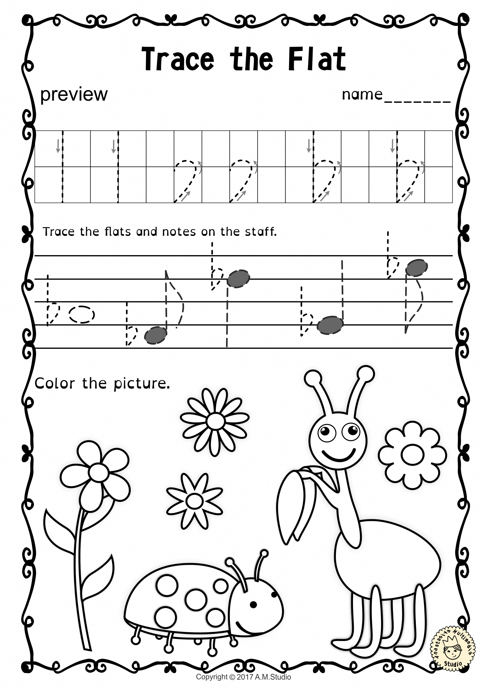 Tracing Music Notes Worksheets For Spring Music Theory