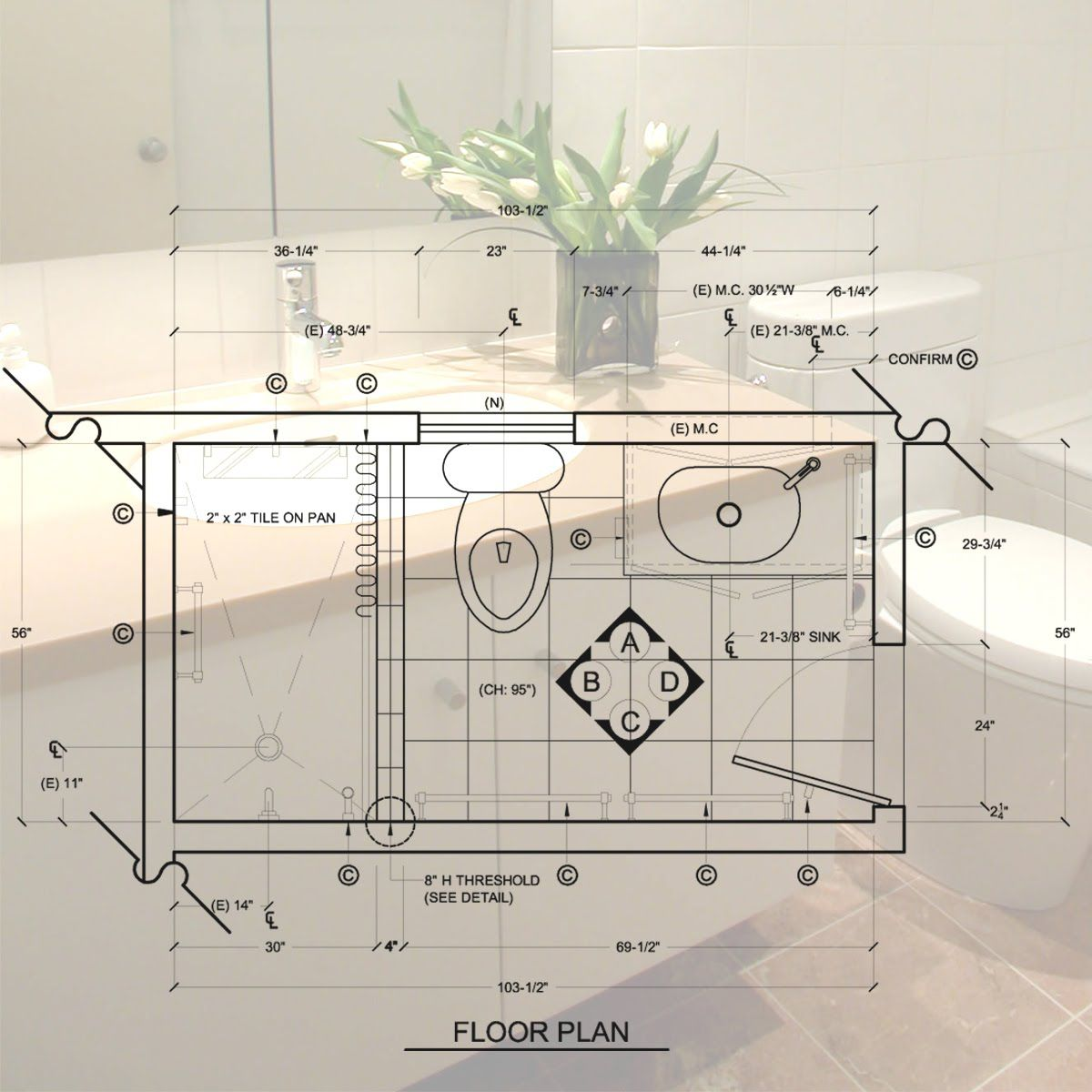 C L K Design Studio: Standard 5'x 8' Bathroom Design & Construction Document