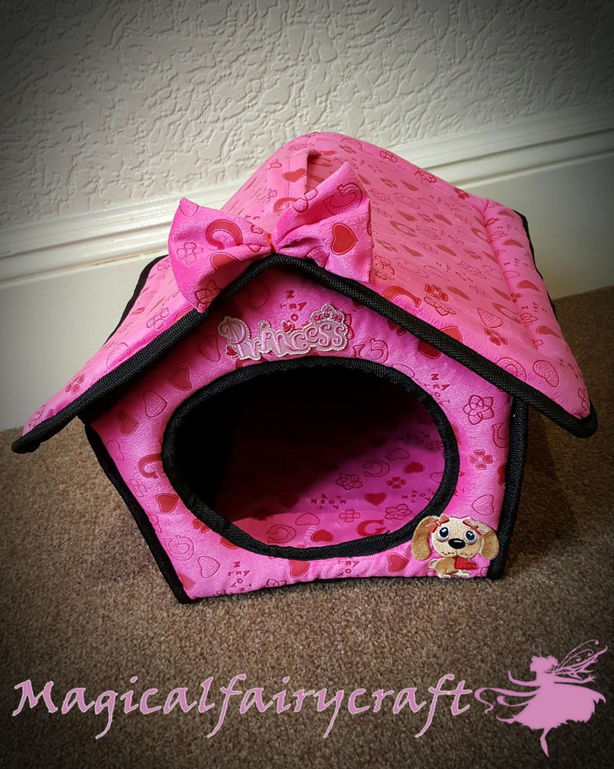Pink princess pet bed for small dogs mink/velour soft by Magicalfairycrafts on Etsy