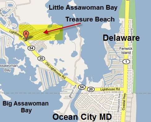 Ocean City Md Location Of Treasure Beach Rv Recreational Vehicle Park And Campground Fenwick Island Delaware