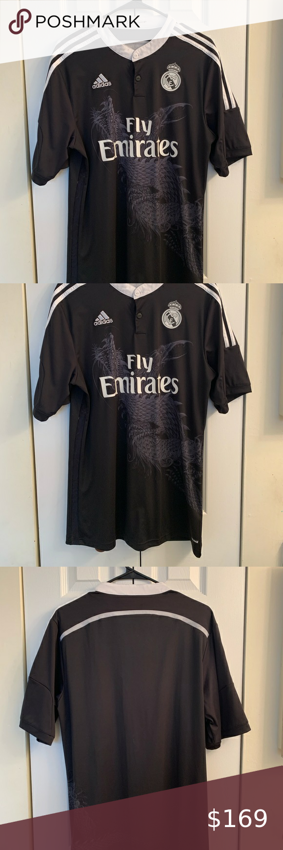 Fly Emirates Adidas X Yy Real Madrid Black Dragon Pre Owed Adidas Real Madrid X Yohji Yamamoto Third Jersey Adult Size Large Gently Worn In Great Condition I In 2020