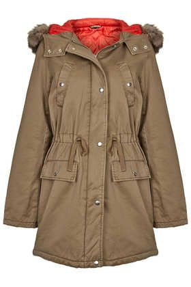 Red Lined Fur Trimmed Parka | Topshop