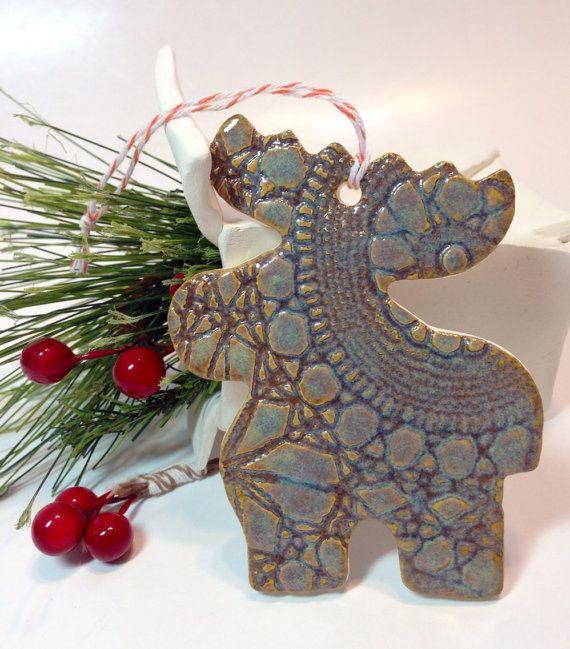 Moose Christmas Ceramic Ornament by lemonglaze on Etsy Christmas - moose christmas decorations