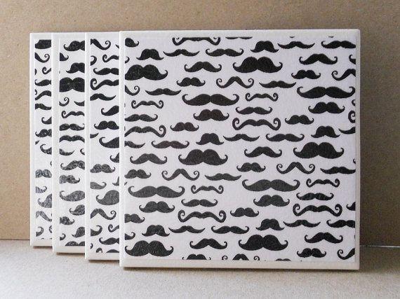 Handmade Decoupaged Coasters  Moustaches