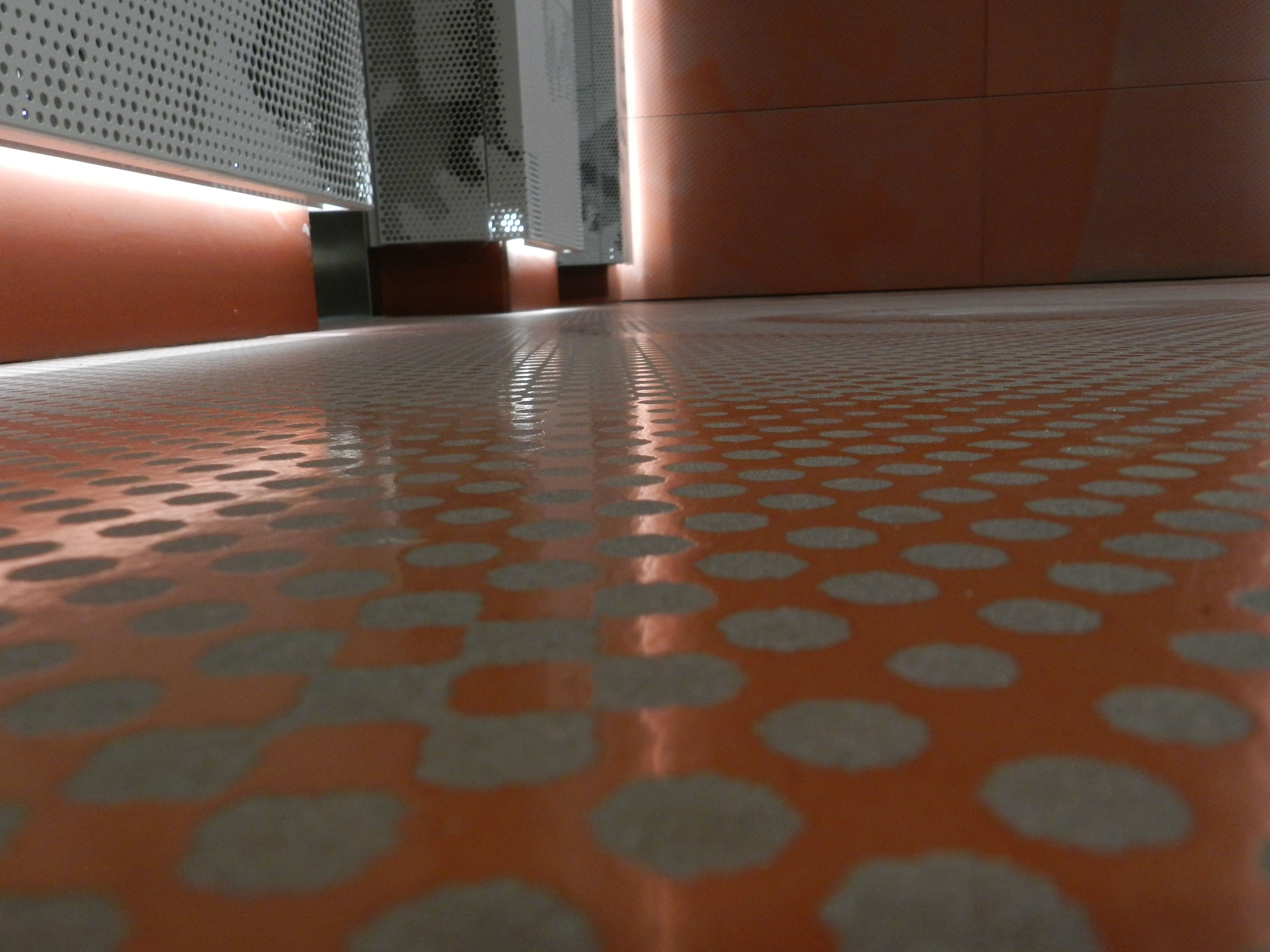 The walls and floor tiles, designed by Studio Gas, wished to give a ...
