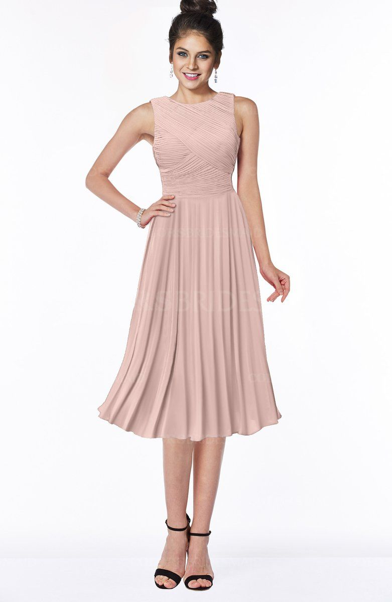 5786f45935 Dusty Rose Affordable Gorgeous A-line Sleeveless Chiffon Pick up Bridesmaid  Dresses can be accessed at colorsbridesmaid.com. It s A-line