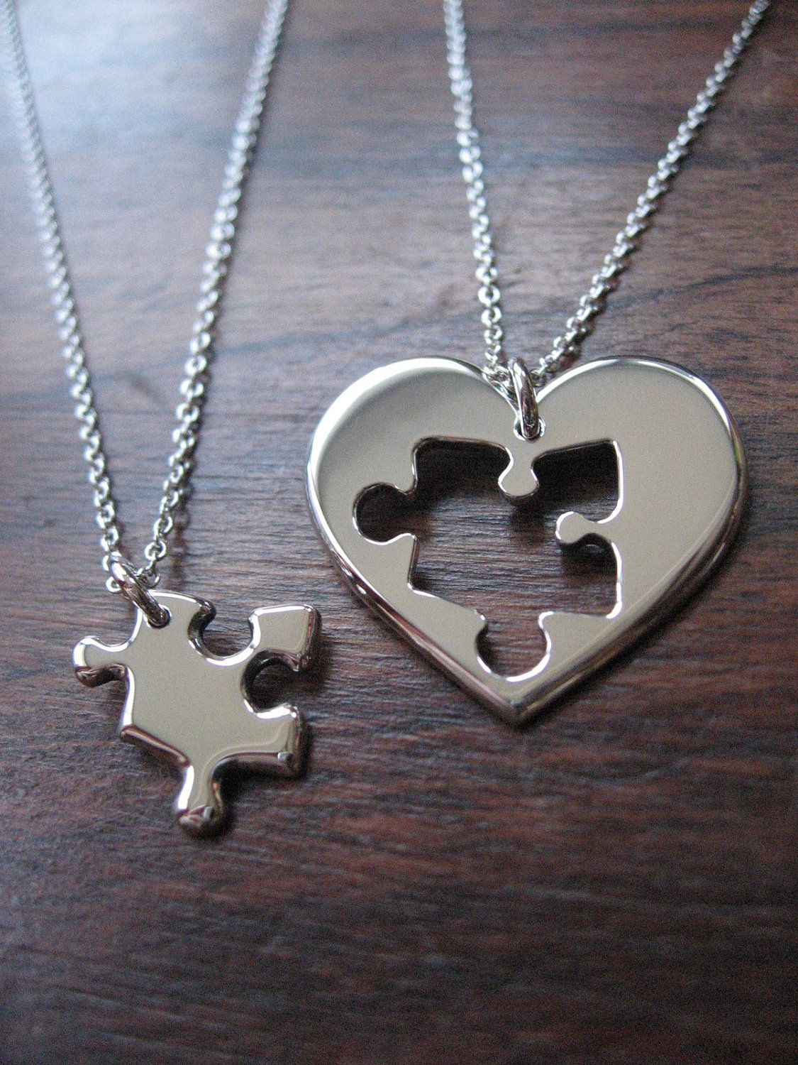 Best friend puzzle and heart necklace pendants 7500 via etsy best friend puzzle and heart necklace pendants cute but i would make the puzzle piece a keychain so my bf could carry it mozeypictures Image collections