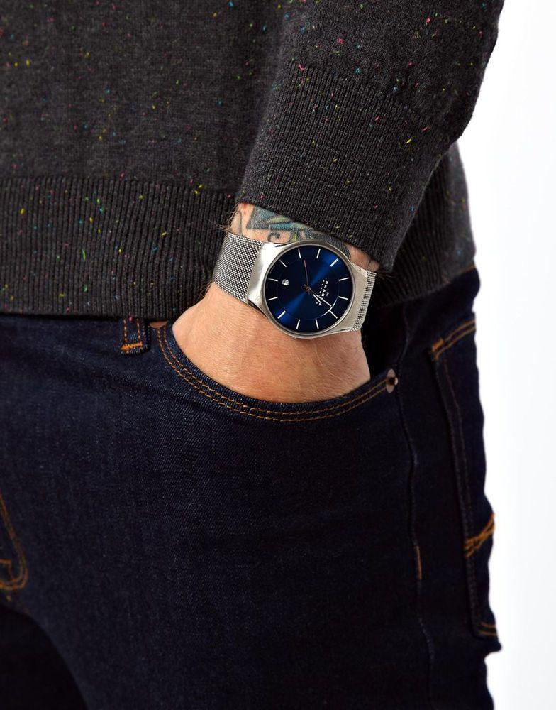 577a2e16fea18 Skagen Watch 956xlttn Quartz Titanium Blue Dial in Silver for Men ...