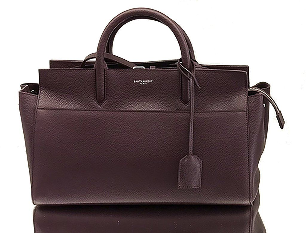 ec4d0486a9ad Saint Laurent YSL SMALL CABAS RIVE GAUCHE BAG IN WINE GRAINED LEATHER AND  SUEDE SAINT LAURENT