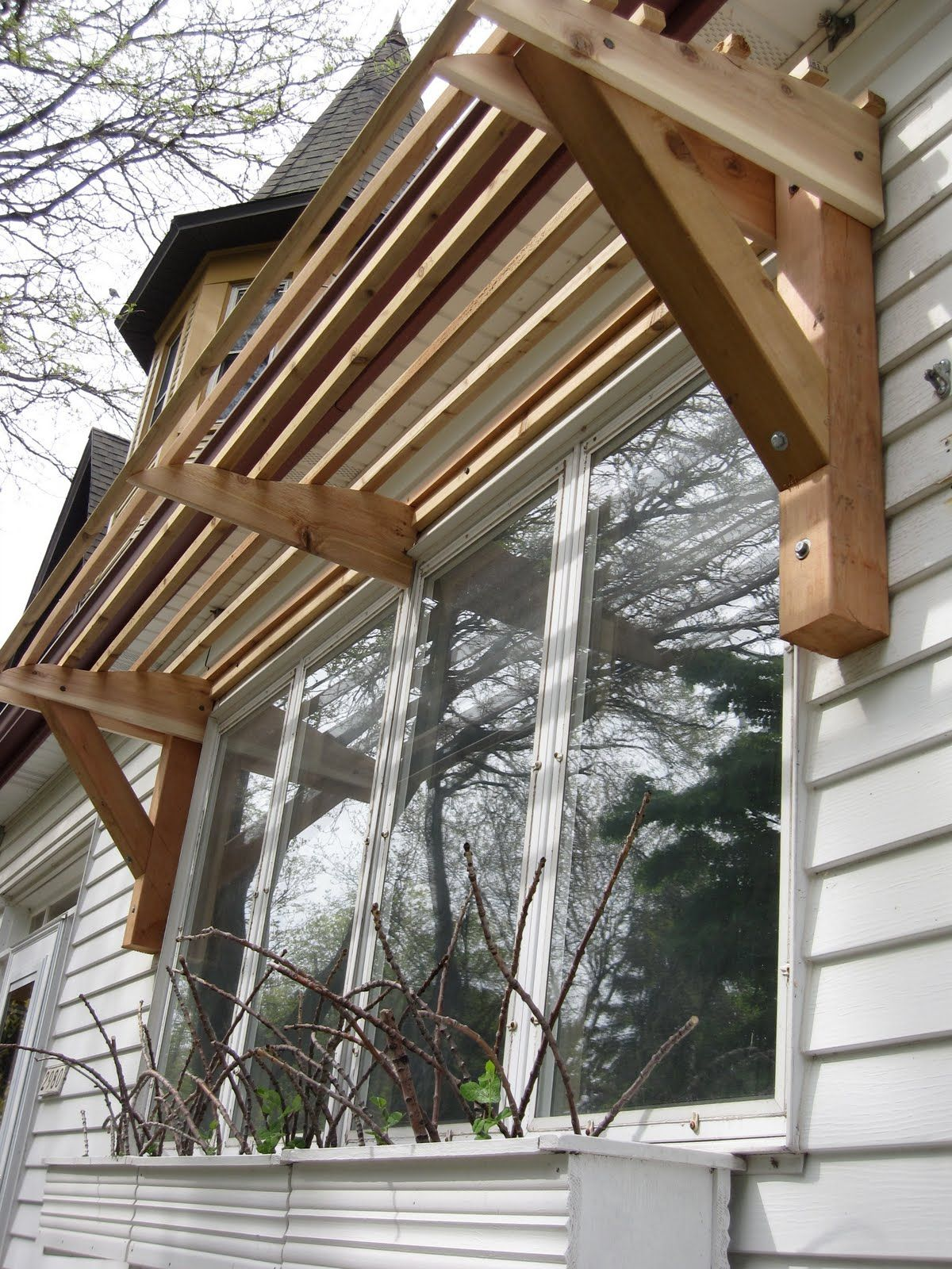 Window Canopy Horizontal Slat Awning All Wood House Ideas In 2019 Diy